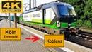 【4K】 Führerstandsmitfahrt Köln Ehrenfeld nach Koblenz HBF über Eifeltor,Bonn,Remagen,Andernach