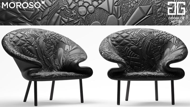 Моделирование дивана и кресла Doodle Moroso в 3d max и marvelous designer