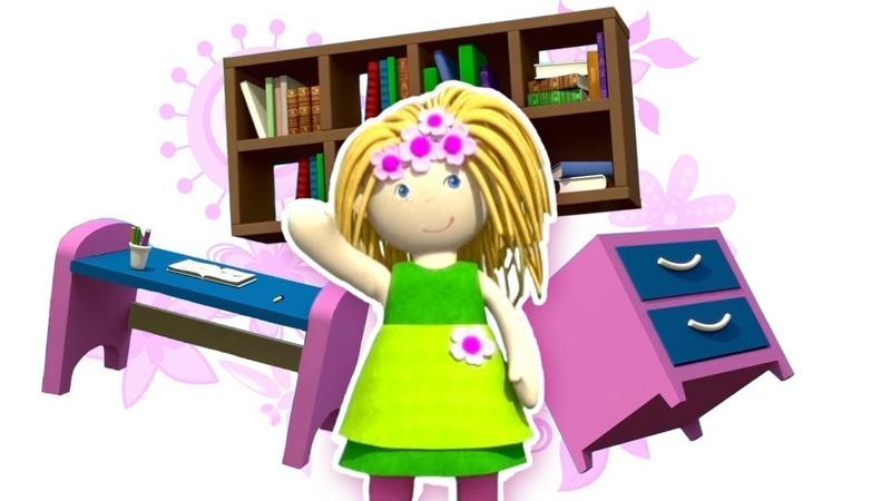 La casa de muñecas. El despacho de la muñeca Bianca. Dibujo animado.