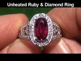 Intense Red Unheated &amp Untreated Ruby &amp Diamond Ring Set In Solid 18K White Gold Must Be Sold!