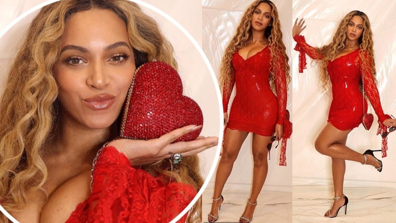 Beyonce sends temperatures soaring in fiery latex red mini dress in Valentine's Day shoot