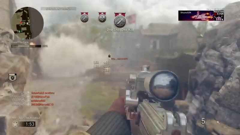 Escorting the tank one head at a time. COD WWII