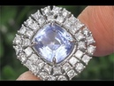HGT Certified UNHEATED Natural VVS Blue Sapphire Diamond 14k White Gold Ring Auction - C130