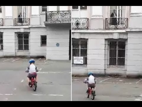 Terrifying 'GHOST of elderly woman' watching over five-year-old boy learning to ride bike