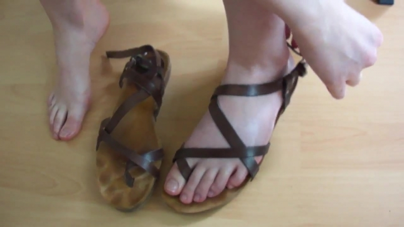 Used sandals and cheese feet