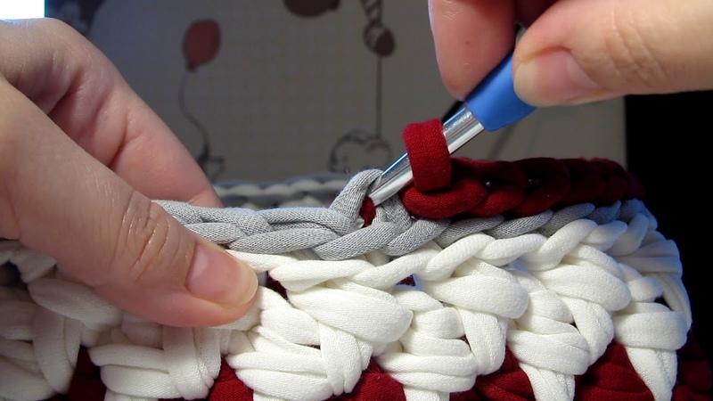 Обвязка соединительными петельками верха корзинки Корзинка из трикотажной пряжи крючком