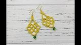 Фриволите иглой. Желтые серьги с бусиной Needle tatting. Yellow earrings with a crystal bead