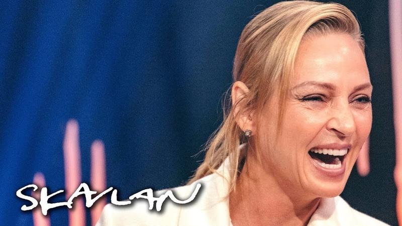 Uma Thurman makes talk show host blush | SVTTV 2Skavlan