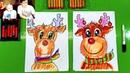 Рождественский ОЛЕНЬ рисуем с КАТЕЙ и РыбаКит