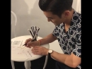 180614 - marieclaire_hk IG update with Siwon writing a postcard message at the Chanel event at H Queen's HK. instagr