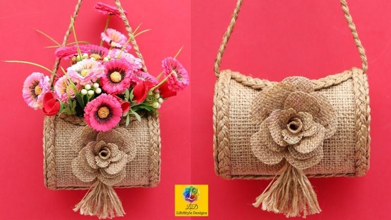 DIY Wall Hanging Flower Vase with Jute | Flower pot Using Jute Rope | Wall Decor Jute Craft Idea