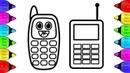 Vẽ và tô màu Điện Thoại | Bé Học Tô Màu | vẽ điện thoại | Mobile Phone Coloring Pages For Kids