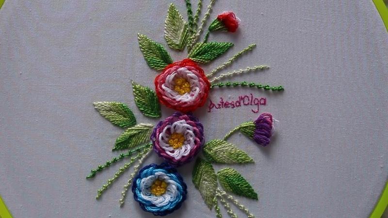 Hand Embroidery: Looped Blanket Stitch–Turkish Stitch   Bordados a mano: Puntada Festón (Variación)
