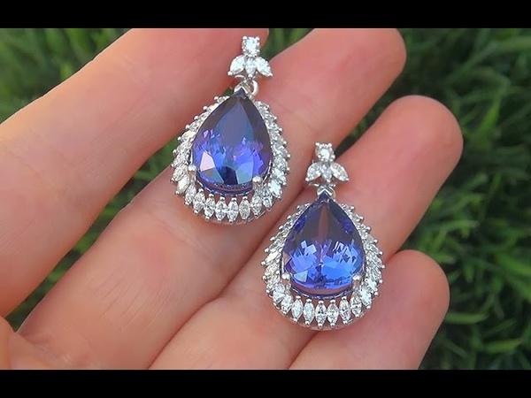 GIA Certified 18.59 ct FLAWLESS Tanzanite Diamond 18k White Gold Vintage Estate Earrings - A131597