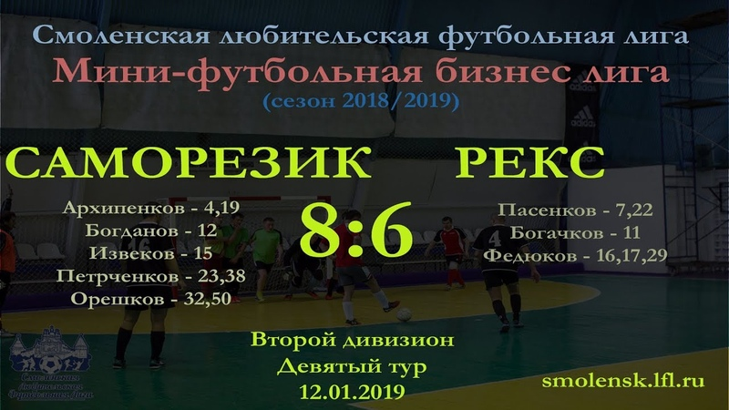 Мини-футбол 2018/19. САМОРЕЗИК - РЕКС 8:6 (обзор матча)