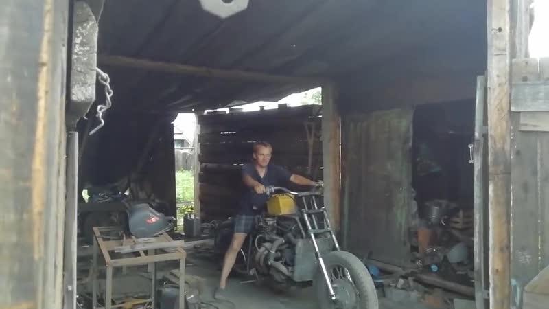 Мотоцикл с двигателем от ваз 2106 пробный выезд (Берёзка)