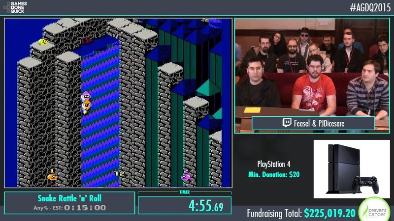 AGDQ 2015 Snake Rattle 'n' Roll Co-Up Speed Run in 0:12:49 by PJ and Feasel AGDQ2015