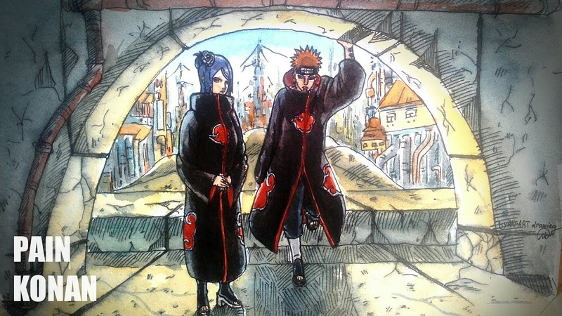 Рисунок Пейна и Конан из аниме Наруто | Speed drawing Pain and Konan for anime Naruto