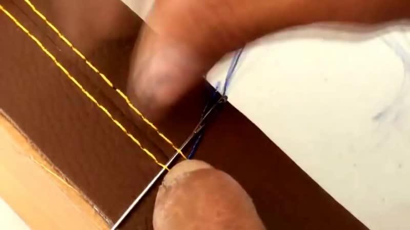 Capa de Volante Costurada em couro - Exemplo da costura