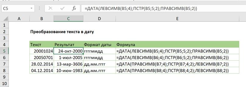 Преобразование текста в дату