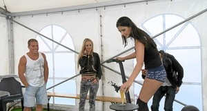 Teen girls with old man video