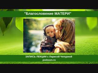 Благословение матери. Запись лекции Ларисы Чепурной