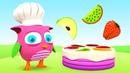 Juegos con el Búho Hophop Aprendemos los frutas y legumbres Dibujos animados de colores