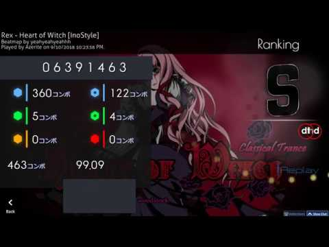 Osu! | Azerite | Rex - Heart of Witch [InoStyle] HD,DT 99.09% FC 397pp 1