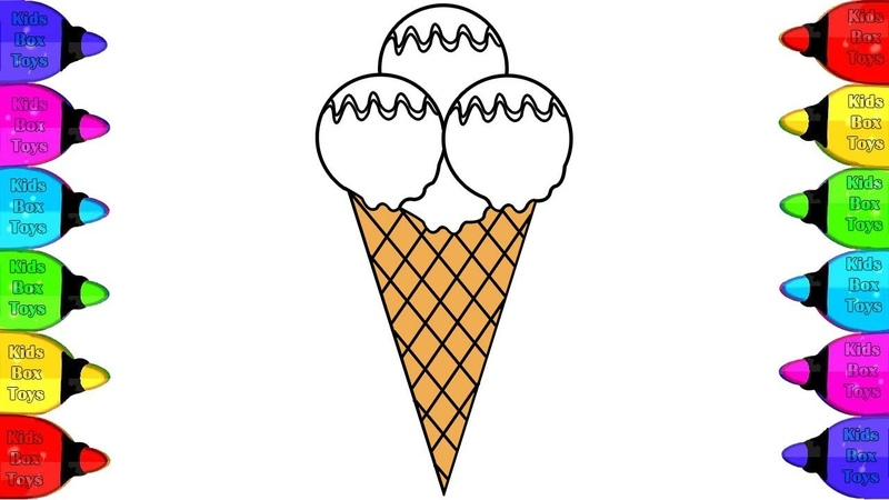Ice Cream Drawing and Coloring | Ice Cream Coloring Book page for children, kids, toddler