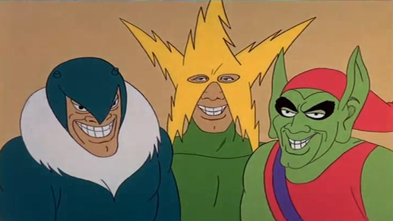[MEME ORIGIN] ME AND THE BOYS | 60S SPIDER-MAN VILLAINS ELECTRO, VULTURE, RHINO, GREEN GOBLIN