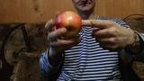 Проба пробить пальцем яблоко и картошку