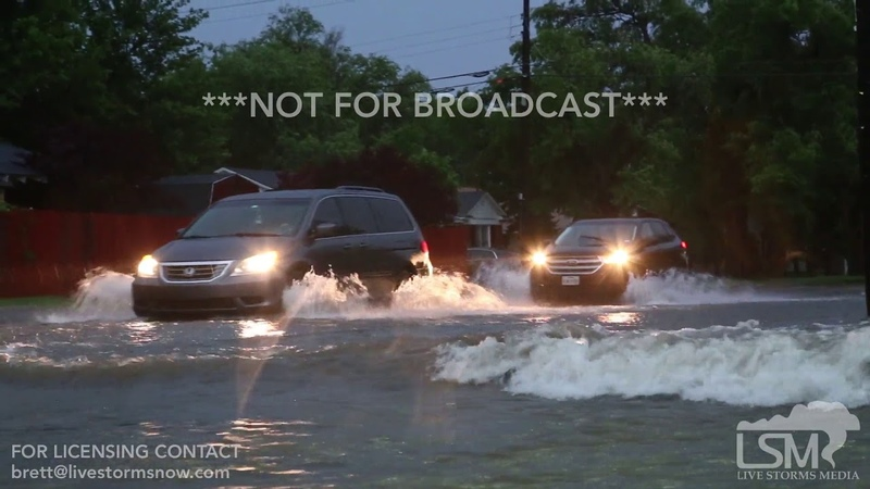 06 01 2019 Amarillo TX Water rushing over roadways and I 40 closure due to flash flooding