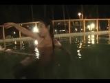 Beautiful asian girl swimming in pool