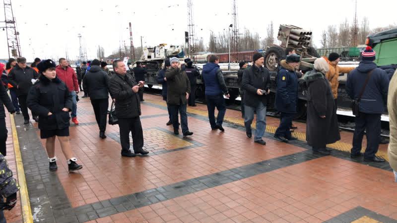 На ЖД вокзал Белгорода приехал агитпоезд с трофейным оружием и техникой сирийских боевиков