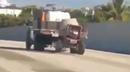 Cement mixer on motorway