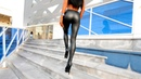 Walking in boots Black leather leggings high heeled shoes long legs