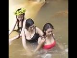 So pretty girl trip wild girl take a bath at the waterfall