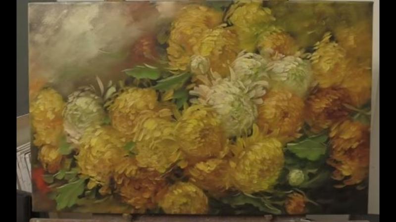 4 Как написать хризантемы. Живопись маслом по тёмному акриловом у грунту. How to draw a chrysanthemum Oleg Buiko