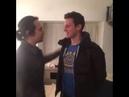 Lin-Manuel Miranda kissing Jonathan Groff