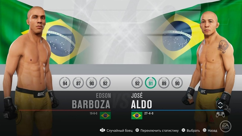 EDSON BARBOZA vs JOSE ALDO бой EA SPORTS UFC 3 Cpu vs Cpu