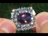 GIA Certified UNHEATED Natural Purple Spinel Diamond 14k Gld Vintage Cocktail Ring - A141525