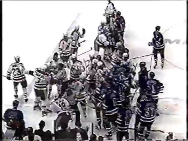 New York Rangers vs New Jersey Devils Bench Clearing Brawl Apr 29, 1992