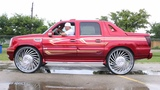 WhipAddict Kandy Cadillac Escalade EXT, BAGGED Engraved Corleone Forged Fiato 34s!!