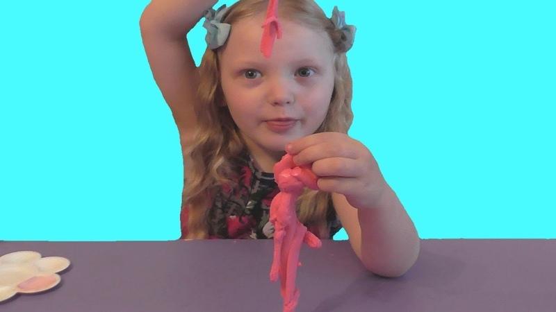 Как сделать лизуна из клея ПВА DIY Slime Наш первый лизун Розовый слайм с блесками Видео для детей