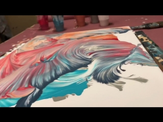 Техника живописи жидким акрилом FLUID-ART