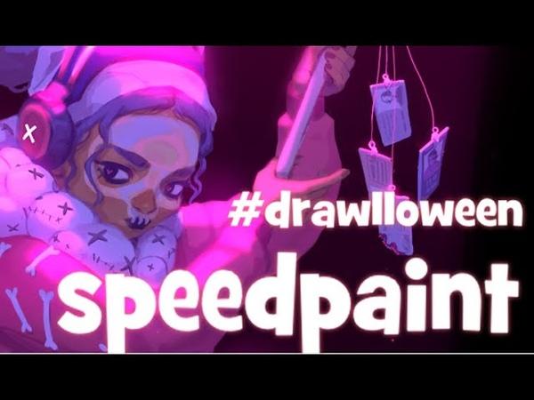 Speedpaint Paint Tool SAI Drawlloween Voodoo Druid in a Metropolis
