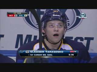 Vladimir Tarasenko first goals in NHL. Jan 19th 2013, St. Louis Blues vs Detroit Redwings - Тарасенко сделал дубль в первом матч
