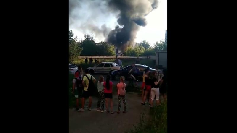 Пожар на территории 18-й поликлиники в Казани