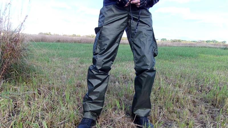 Военные штаны из плащёвки и чёрная болоневая ветровка