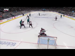 Joe pavelski back in the lineup redirects brent burns point shot (720p)